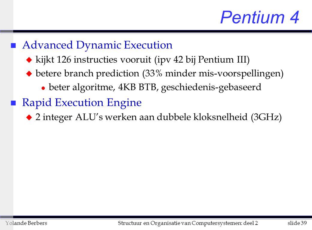 slide 39Structuur en Organisatie van Computersystemen: deel 2Yolande Berbers Pentium 4 n Advanced Dynamic Execution u kijkt 126 instructies vooruit (ipv 42 bij Pentium III) u betere branch prediction (33% minder mis-voorspellingen) l beter algoritme, 4KB BTB, geschiedenis-gebaseerd n Rapid Execution Engine u 2 integer ALU's werken aan dubbele kloksnelheid (3GHz)