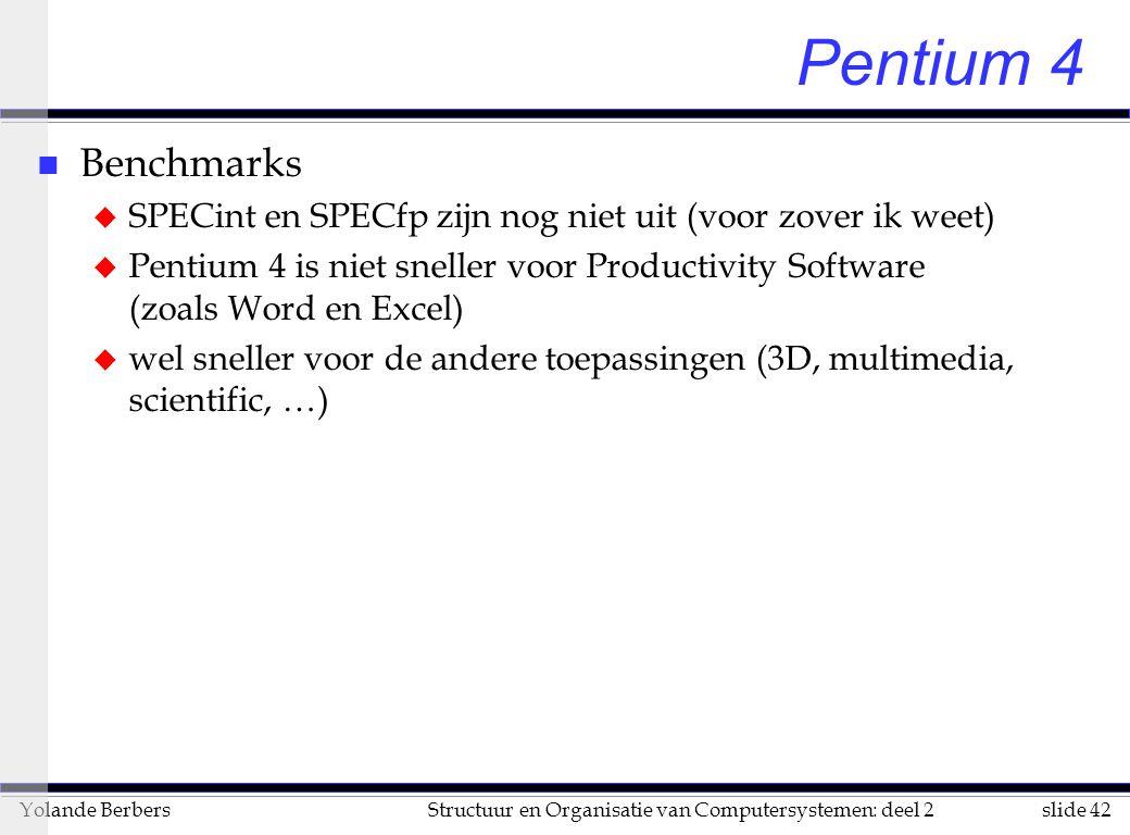 slide 42Structuur en Organisatie van Computersystemen: deel 2Yolande Berbers Pentium 4 n Benchmarks u SPECint en SPECfp zijn nog niet uit (voor zover ik weet) u Pentium 4 is niet sneller voor Productivity Software (zoals Word en Excel) u wel sneller voor de andere toepassingen (3D, multimedia, scientific, …)