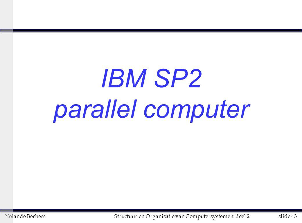 slide 43Structuur en Organisatie van Computersystemen: deel 2Yolande Berbers IBM SP2 parallel computer