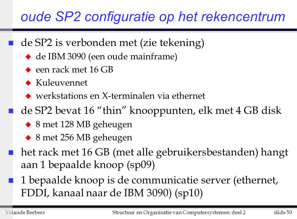 slide 50Structuur en Organisatie van Computersystemen: deel 2Yolande Berbers n de SP2 is verbonden met (zie tekening) u de IBM 3090 (een oude mainframe) u een rack met 16 GB u Kuleuvennet u werkstations en X-terminalen via ethernet n de SP2 bevat 16 thin knooppunten, elk met 4 GB disk u 8 met 128 MB geheugen u 8 met 256 MB geheugen n het rack met 16 GB (met alle gebruikersbestanden) hangt aan 1 bepaalde knoop (sp09) n 1 bepaalde knoop is de communicatie server (ethernet, FDDI, kanaal naar de IBM 3090) (sp10) oude SP2 configuratie op het rekencentrum