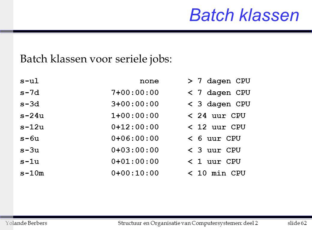 slide 62Structuur en Organisatie van Computersystemen: deel 2Yolande Berbers Batch klassen Batch klassen voor seriele jobs: s-ul none > 7 dagen CPU s-7d 7+00:00:00 < 7 dagen CPU s-3d 3+00:00:00 < 3 dagen CPU s-24u 1+00:00:00 < 24 uur CPU s-12u 0+12:00:00 < 12 uur CPU s-6u 0+06:00:00 < 6 uur CPU s-3u 0+03:00:00 < 3 uur CPU s-1u 0+01:00:00 < 1 uur CPU s-10m 0+00:10:00 < 10 min CPU