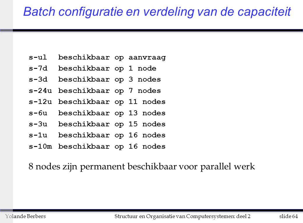 slide 64Structuur en Organisatie van Computersystemen: deel 2Yolande Berbers Batch configuratie en verdeling van de capaciteit s-ulbeschikbaar op aanvraag s-7dbeschikbaar op 1 node s-3dbeschikbaar op 3 nodes s-24ubeschikbaar op 7 nodes s-12ubeschikbaar op 11 nodes s-6ubeschikbaar op 13 nodes s-3ubeschikbaar op 15 nodes s-1ubeschikbaar op 16 nodes s-10mbeschikbaar op 16 nodes 8 nodes zijn permanent beschikbaar voor parallel werk