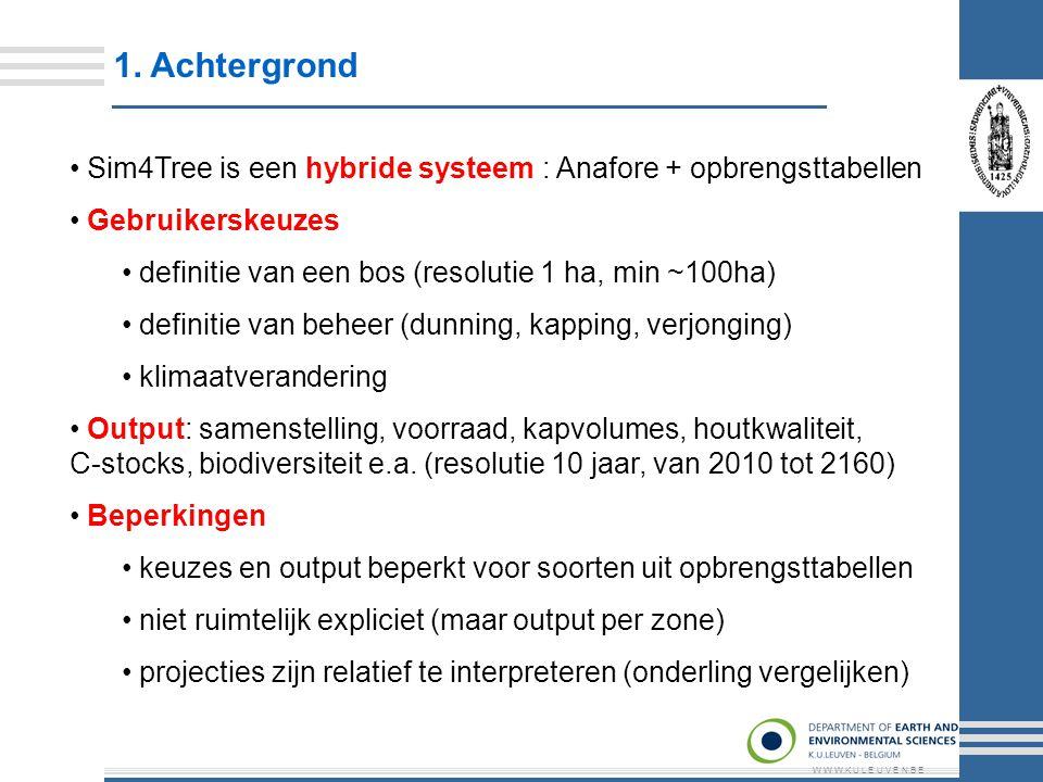 1. Achtergrond W W W.K U L E U V E N.B E Sim4Tree is een hybride systeem : Anafore + opbrengsttabellen Gebruikerskeuzes definitie van een bos (resolut