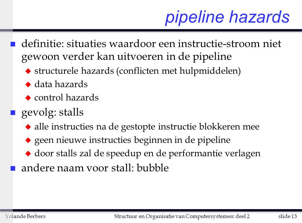 slide 13Structuur en Organisatie van Computersystemen: deel 2Yolande Berbers pipeline hazards n definitie: situaties waardoor een instructie-stroom ni