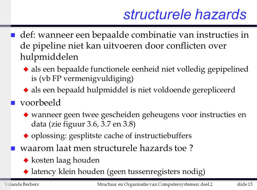 slide 15Structuur en Organisatie van Computersystemen: deel 2Yolande Berbers structurele hazards n def: wanneer een bepaalde combinatie van instructies in de pipeline niet kan uitvoeren door conflicten over hulpmiddelen u als een bepaalde functionele eenheid niet volledig gepipelined is (vb FP vermenigvuldiging) u als een bepaald hulpmiddel is niet voldoende gerepliceerd n voorbeeld u wanneer geen twee gescheiden geheugens voor instructies en data (zie figuur 3.6, 3.7 en 3.8) u oplossing: gesplitste cache of instructiebuffers n waarom laat men structurele hazards toe .