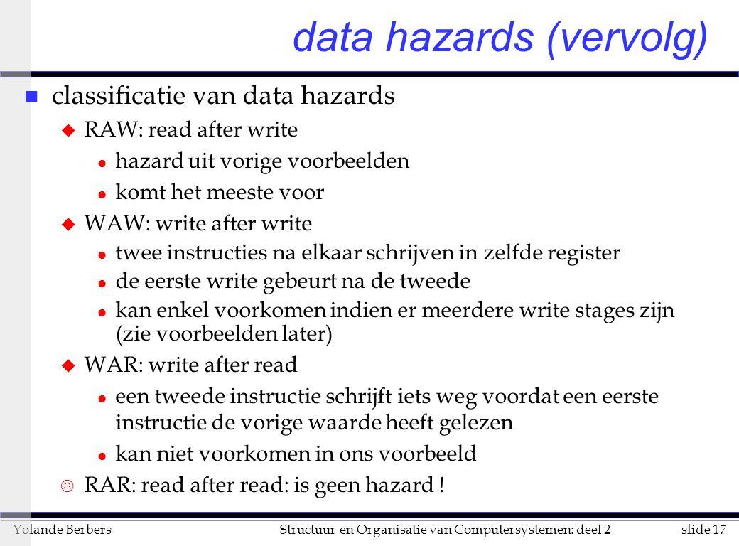 slide 17Structuur en Organisatie van Computersystemen: deel 2Yolande Berbers data hazards (vervolg) n classificatie van data hazards u RAW: read after