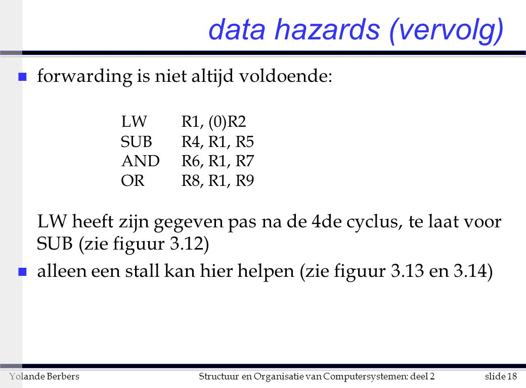 slide 18Structuur en Organisatie van Computersystemen: deel 2Yolande Berbers data hazards (vervolg) n forwarding is niet altijd voldoende: LW R1, (0)R2 SUB R4, R1, R5 AND R6, R1, R7 OR R8, R1, R9 LW heeft zijn gegeven pas na de 4de cyclus, te laat voor SUB (zie figuur 3.12) n alleen een stall kan hier helpen (zie figuur 3.13 en 3.14)