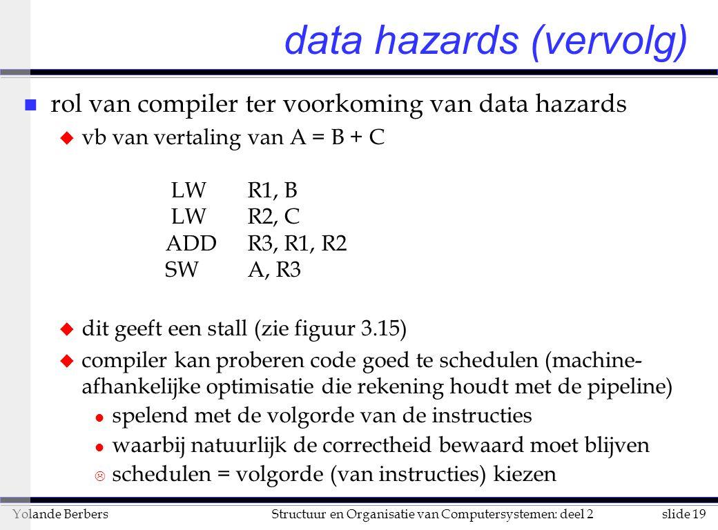 slide 19Structuur en Organisatie van Computersystemen: deel 2Yolande Berbers data hazards (vervolg) n rol van compiler ter voorkoming van data hazards u vb van vertaling van A = B + C LW R1, B LW R2, C ADD R3, R1, R2 SW A, R3 u dit geeft een stall (zie figuur 3.15) u compiler kan proberen code goed te schedulen (machine- afhankelijke optimisatie die rekening houdt met de pipeline) l spelend met de volgorde van de instructies l waarbij natuurlijk de correctheid bewaard moet blijven L schedulen = volgorde (van instructies) kiezen