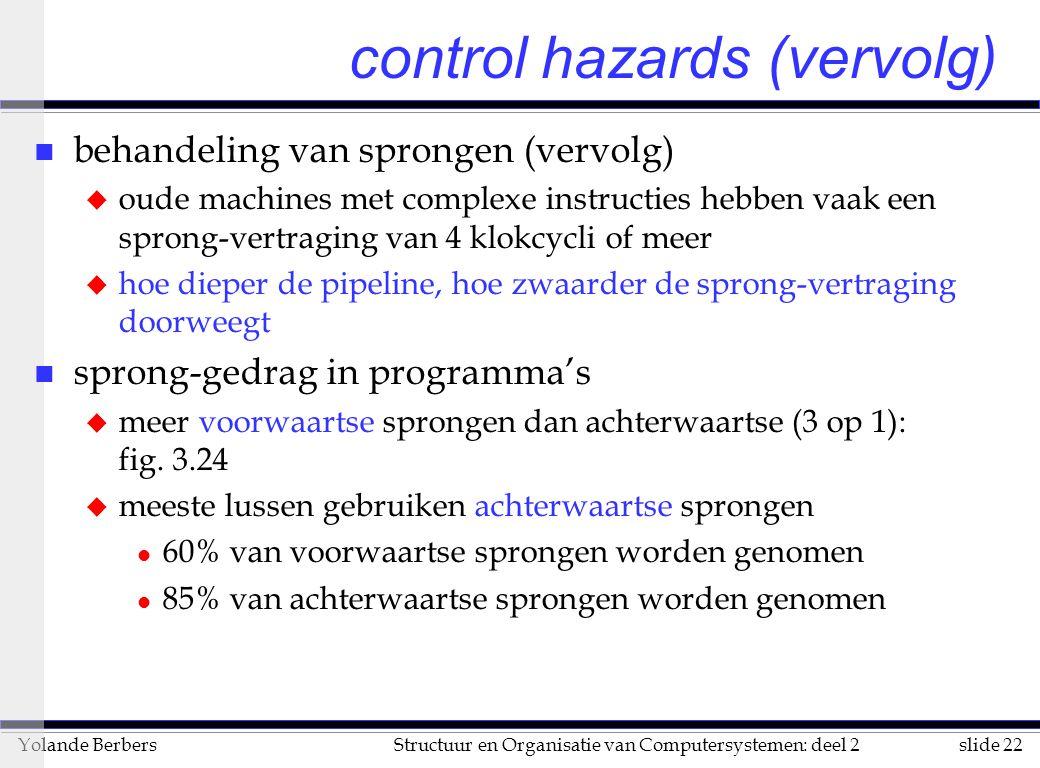 slide 22Structuur en Organisatie van Computersystemen: deel 2Yolande Berbers n behandeling van sprongen (vervolg) u oude machines met complexe instruc