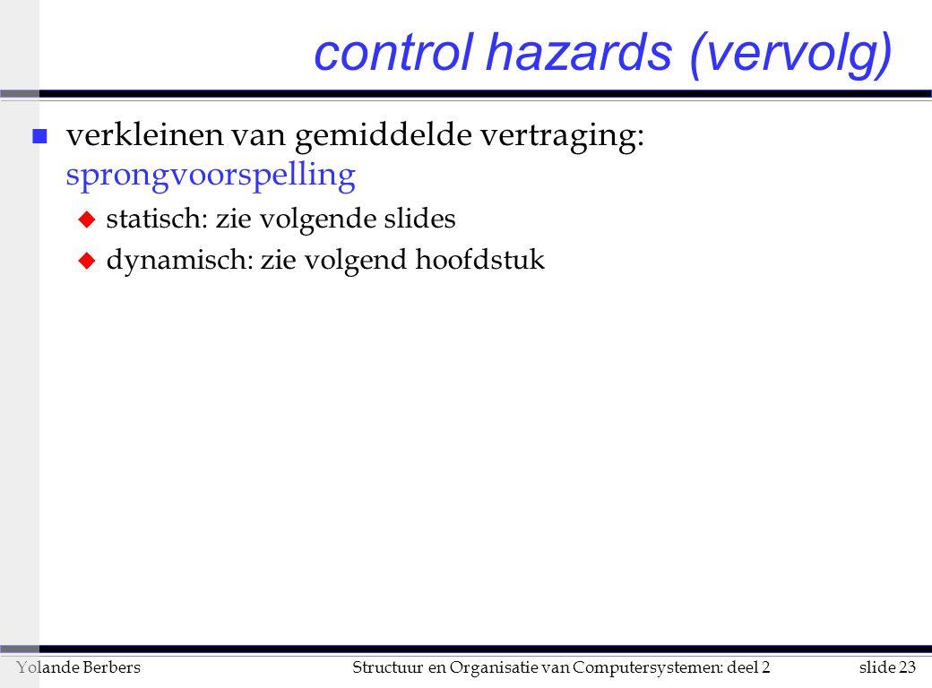 slide 23Structuur en Organisatie van Computersystemen: deel 2Yolande Berbers n verkleinen van gemiddelde vertraging: sprongvoorspelling u statisch: zie volgende slides u dynamisch: zie volgend hoofdstuk control hazards (vervolg)