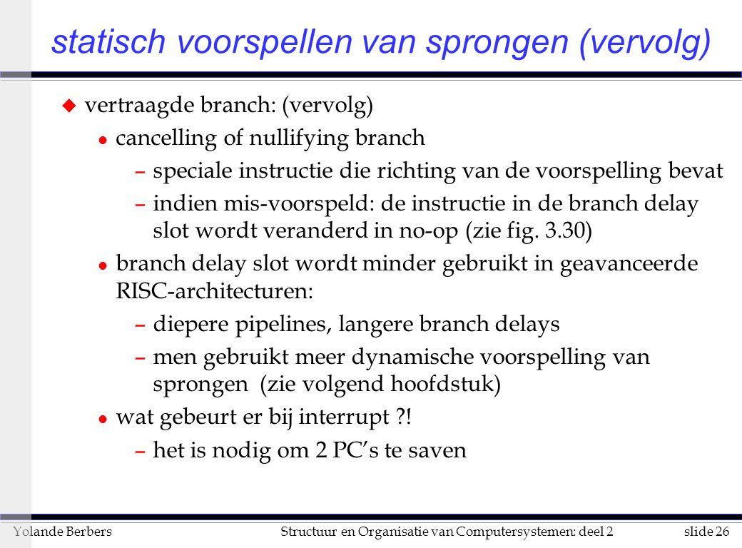 slide 26Structuur en Organisatie van Computersystemen: deel 2Yolande Berbers statisch voorspellen van sprongen (vervolg) u vertraagde branch: (vervolg
