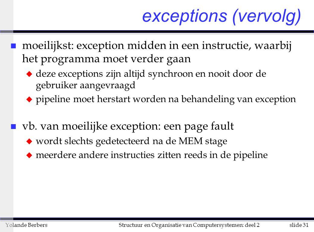 slide 31Structuur en Organisatie van Computersystemen: deel 2Yolande Berbers exceptions (vervolg) n moeilijkst: exception midden in een instructie, wa
