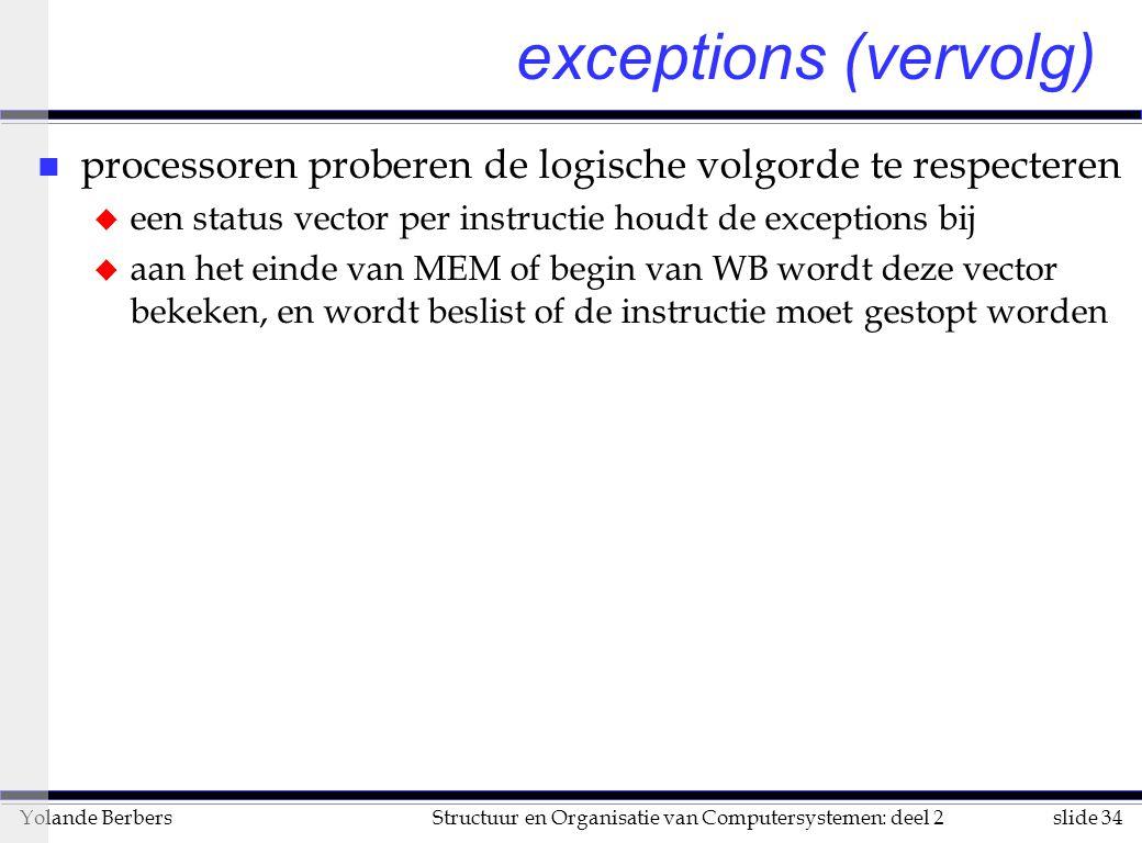 slide 34Structuur en Organisatie van Computersystemen: deel 2Yolande Berbers n processoren proberen de logische volgorde te respecteren u een status v