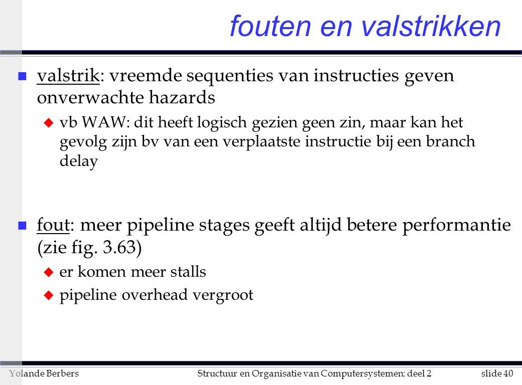 slide 40Structuur en Organisatie van Computersystemen: deel 2Yolande Berbers fouten en valstrikken n valstrik: vreemde sequenties van instructies geve