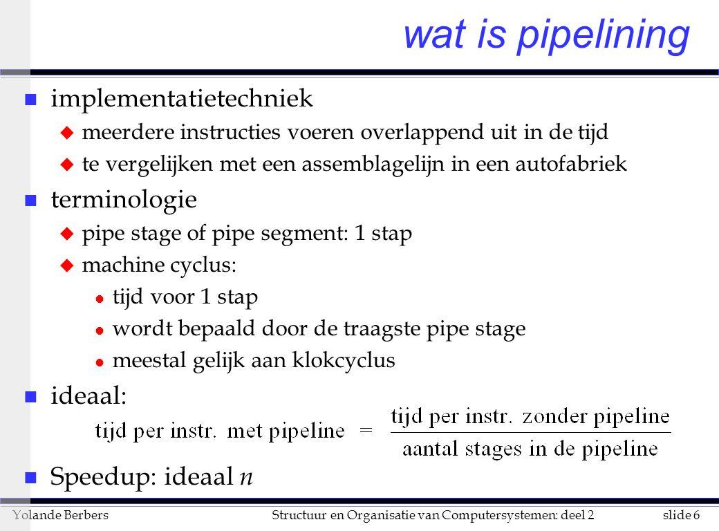 slide 27Structuur en Organisatie van Computersystemen: deel 2Yolande Berbers verder gebruik van compilertechnologie n vb op pagina 175: met statische sprongvoorspelling om data hazard op te lossen LW R1, 0(R2) SUB R1, R1, R3 BEQZ R1, L OR R4, R5, R6......