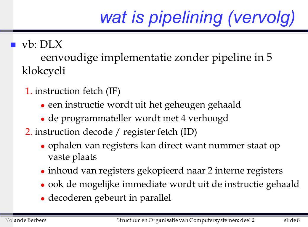 slide 39Structuur en Organisatie van Computersystemen: deel 2Yolande Berbers MIPS R4000 n superpipelining u om hogere klokcyclus te halen: minder doen per stage, dus diepere pipeline (in dit geval 8 stages) (zie fig.