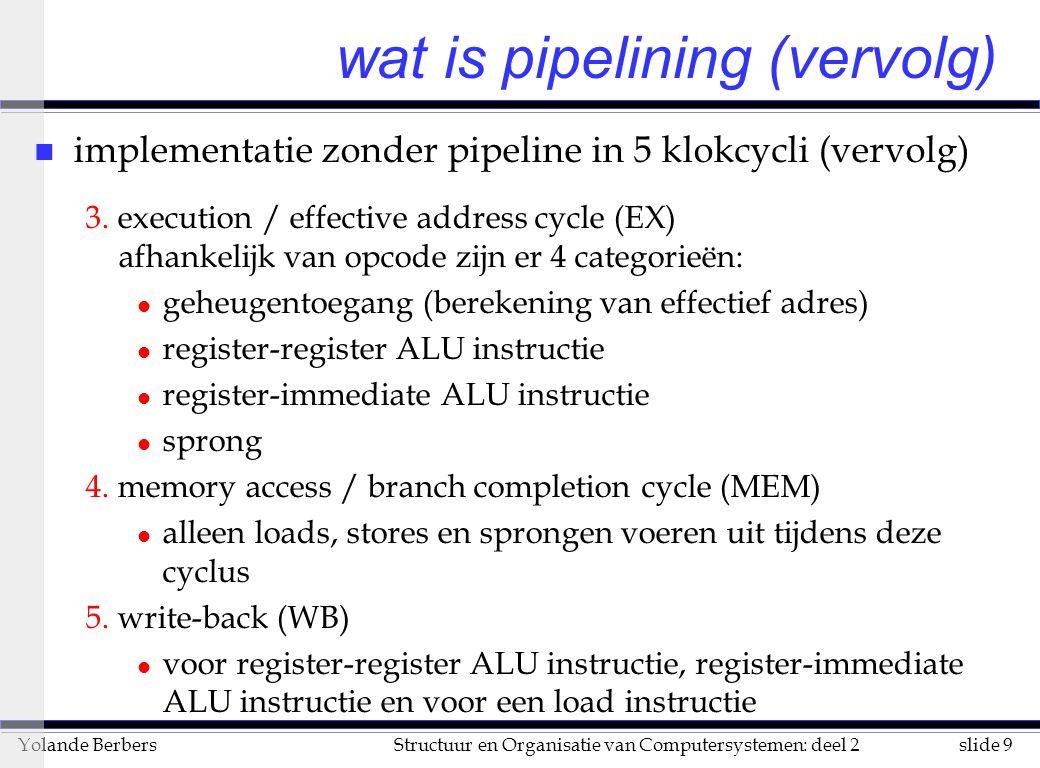 slide 40Structuur en Organisatie van Computersystemen: deel 2Yolande Berbers fouten en valstrikken n valstrik: vreemde sequenties van instructies geven onverwachte hazards u vb WAW: dit heeft logisch gezien geen zin, maar kan het gevolg zijn bv van een verplaatste instructie bij een branch delay n fout: meer pipeline stages geeft altijd betere performantie (zie fig.