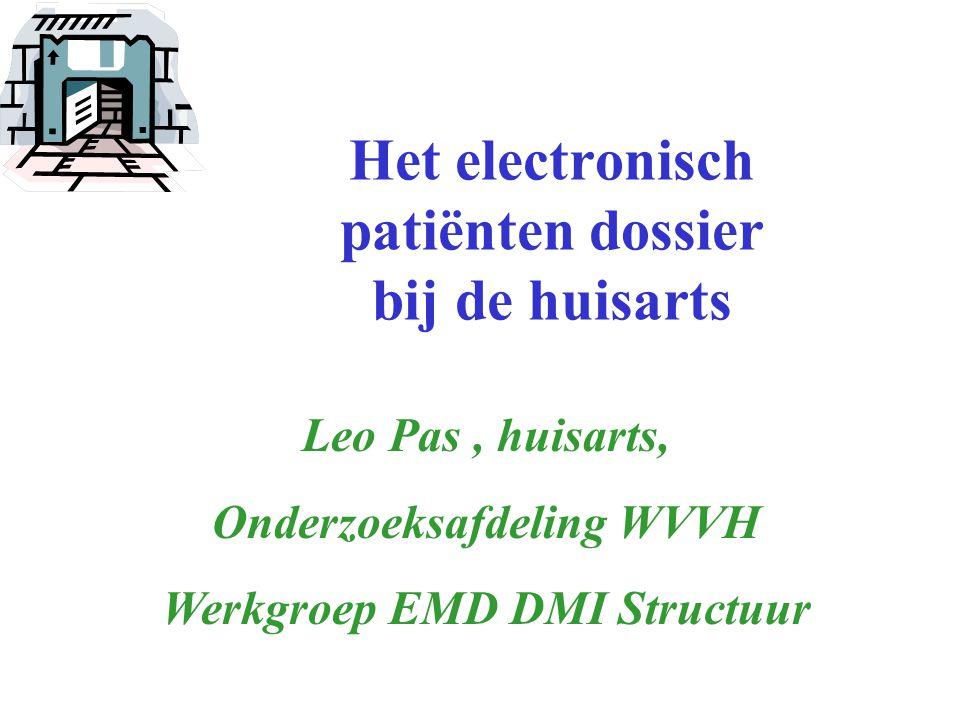 Het electronisch patiënten dossier bij de huisarts Leo Pas, huisarts, Onderzoeksafdeling WVVH Werkgroep EMD DMI Structuur