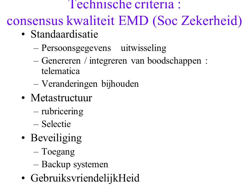 Technische criteria : consensus kwaliteit EMD (Soc Zekerheid) Standaardisatie –Persoonsgegevensuitwisseling –Genereren / integreren van boodschappen :