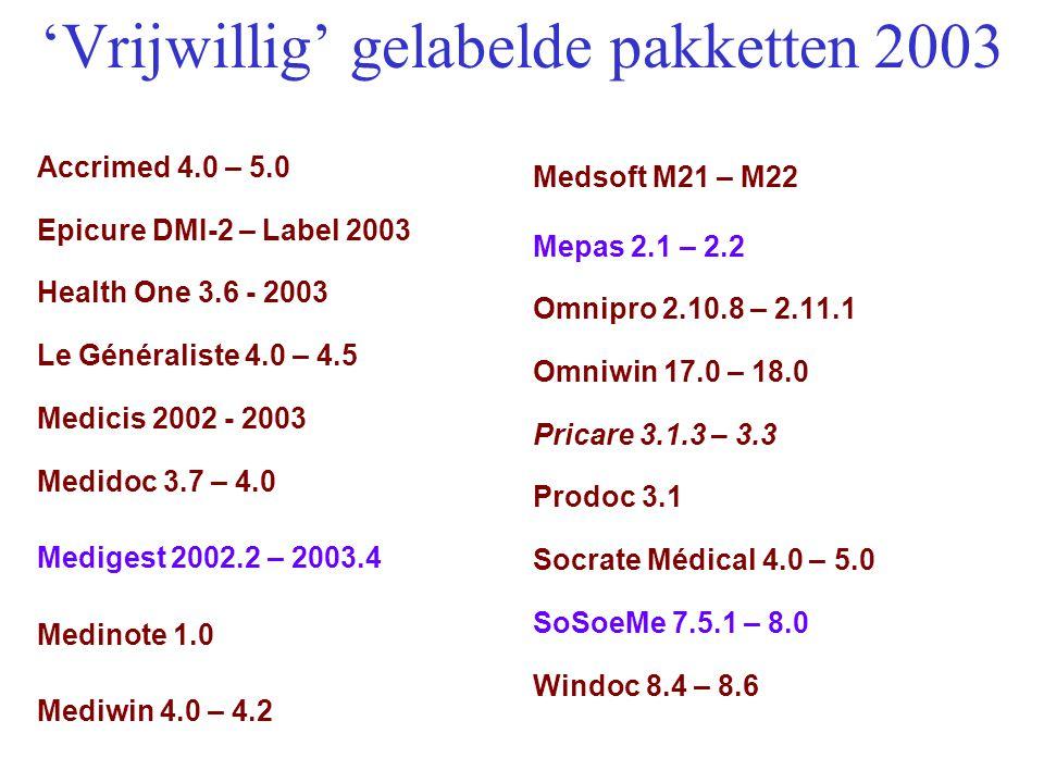 'Vrijwillig' gelabelde pakketten 2003 Accrimed 4.0 – 5.0 Epicure DMI-2 – Label 2003 Health One 3.6 - 2003 Le Généraliste 4.0 – 4.5 Medicis 2002 - 2003