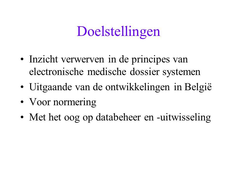 Doelstellingen Inzicht verwerven in de principes van electronische medische dossier systemen Uitgaande van de ontwikkelingen in België Voor normering
