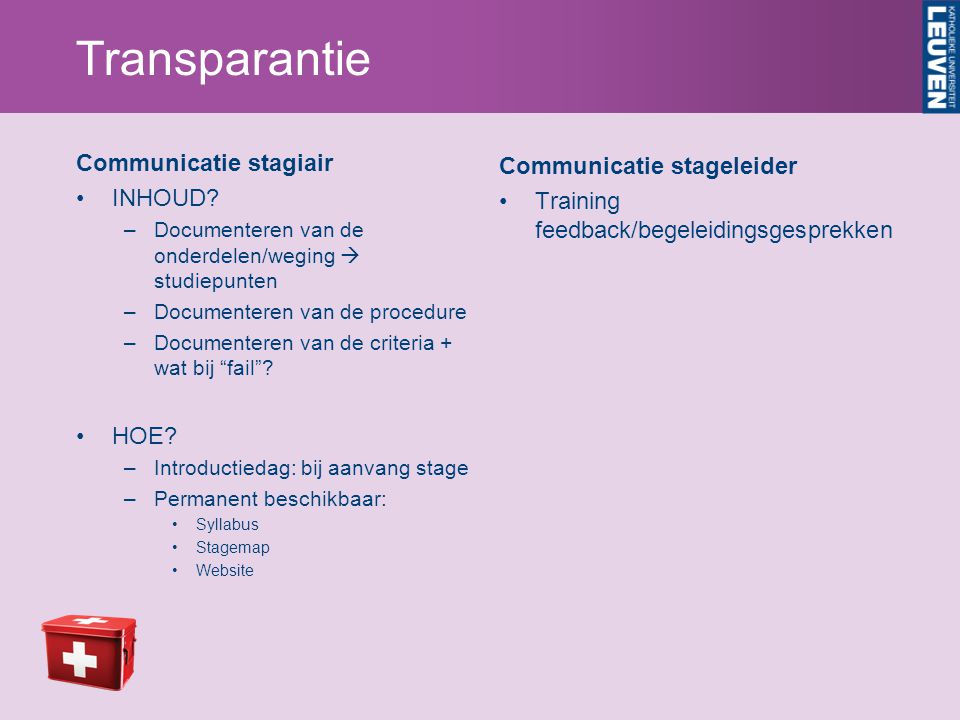 Transparantie Communicatie stagiair INHOUD? –Documenteren van de onderdelen/weging  studiepunten –Documenteren van de procedure –Documenteren van de