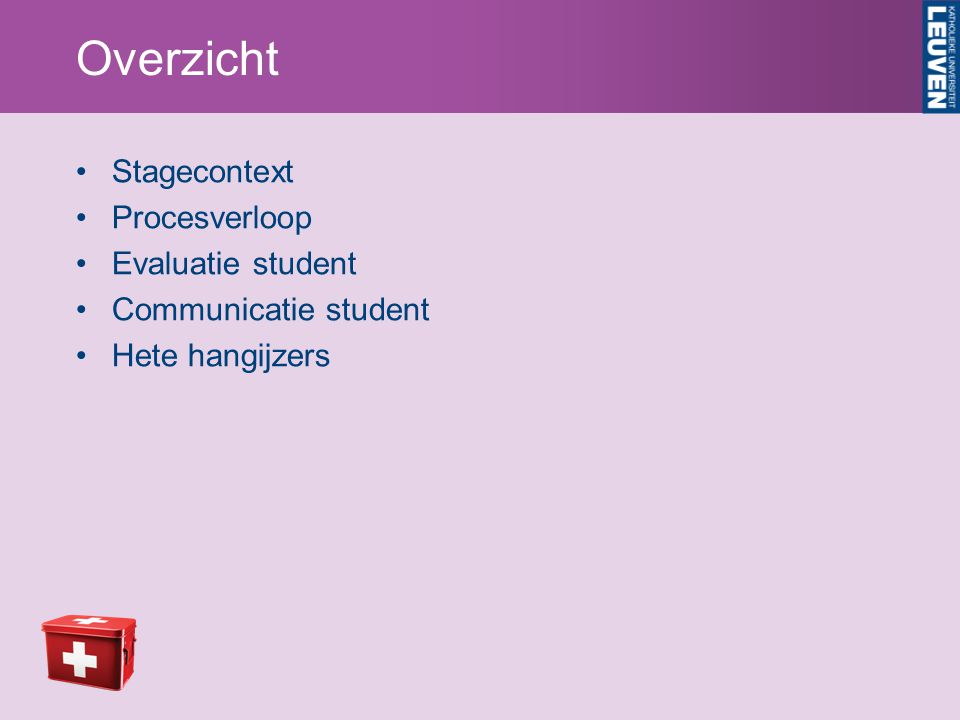 Overzicht Stagecontext Procesverloop Evaluatie student Communicatie student Hete hangijzers