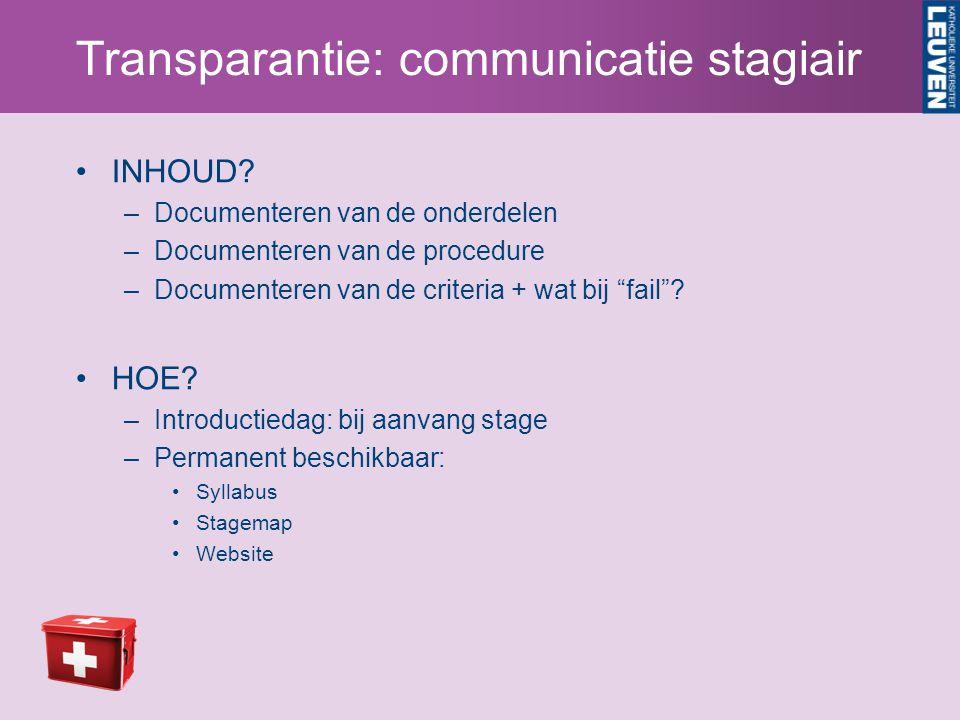 Transparantie: communicatie stagiair INHOUD.