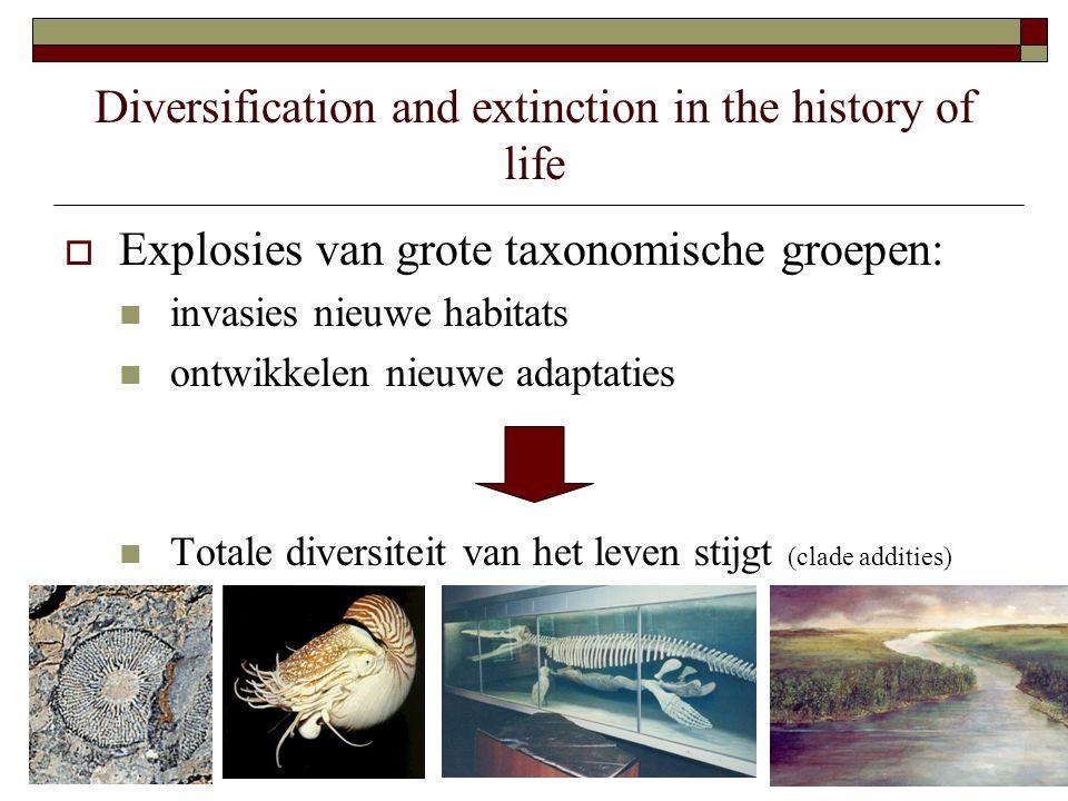Diversification and extinction in the history of life  Explosies van grote taxonomische groepen: invasies nieuwe habitats ontwikkelen nieuwe adaptaties Totale diversiteit van het leven stijgt (clade addities)