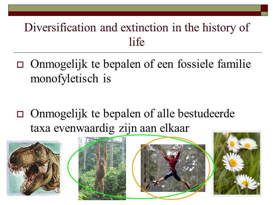 Diversification and extinction in the history of life  Onmogelijk te bepalen of een fossiele familie monofyletisch is  Onmogelijk te bepalen of alle bestudeerde taxa evenwaardig zijn aan elkaar