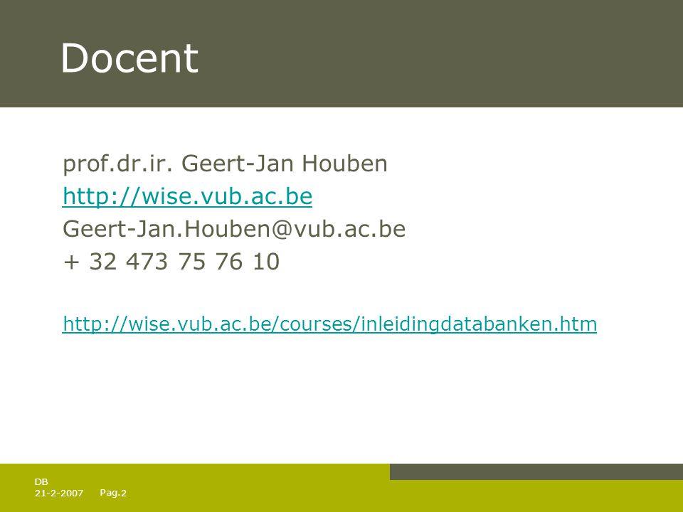Pag. 21-2-20072 DB Docent prof.dr.ir. Geert-Jan Houben http://wise.vub.ac.be Geert-Jan.Houben@vub.ac.be + 32 473 75 76 10 http://wise.vub.ac.be/course