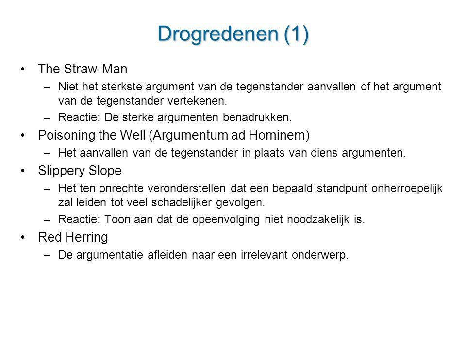 Drogredenen (1) The Straw-Man –Niet het sterkste argument van de tegenstander aanvallen of het argument van de tegenstander vertekenen. –Reactie: De s