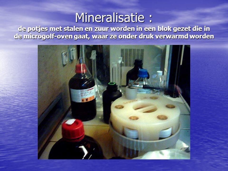 Mineralisatie : de potjes met stalen en zuur worden in een blok gezet die in de microgolf-oven gaat, waar ze onder druk verwarmd worden