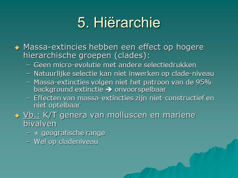 5. Hiërarchie  Massa-extincies hebben een effect op hogere hierarchische groepen (clades): –Geen micro-evolutie met andere selectiedrukken –Natuurlij