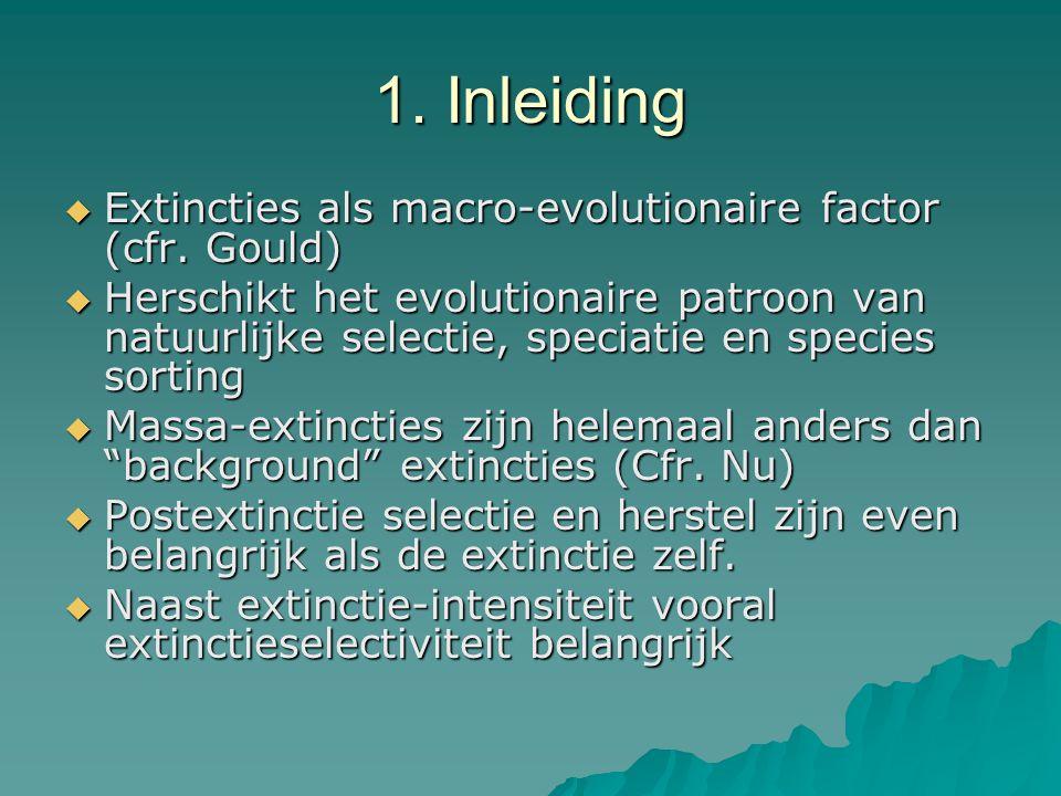 1. Inleiding  Extincties als macro-evolutionaire factor (cfr. Gould)  Herschikt het evolutionaire patroon van natuurlijke selectie, speciatie en spe