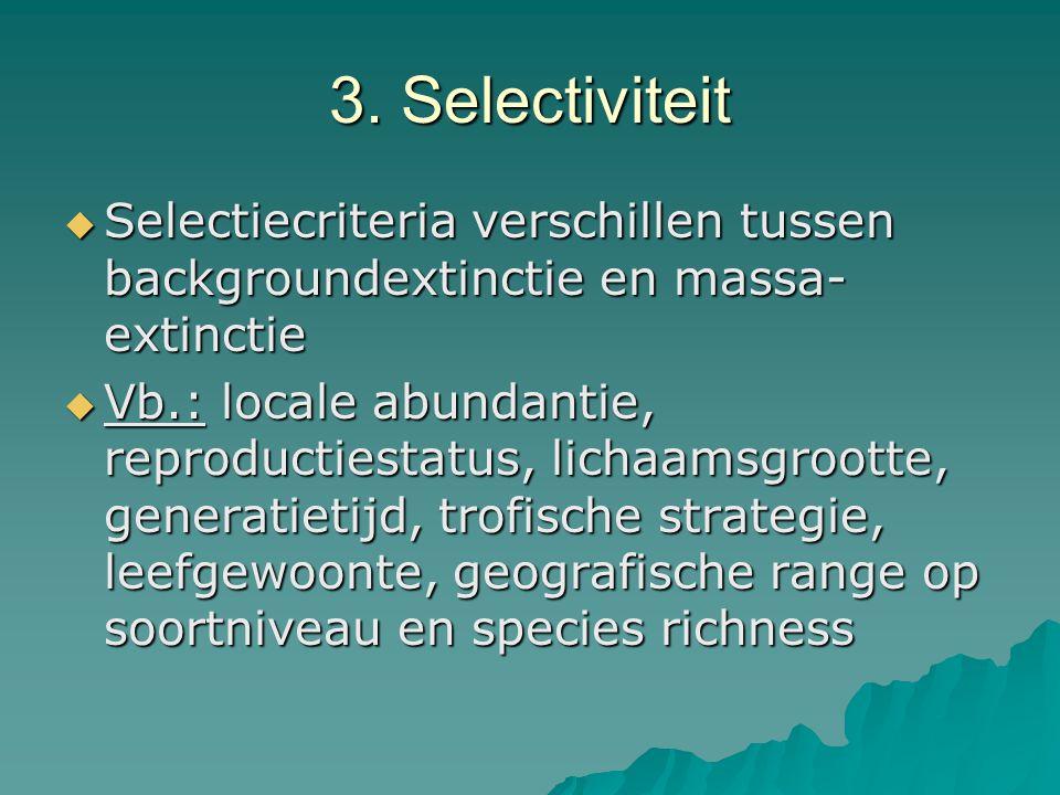 3. Selectiviteit  Selectiecriteria verschillen tussen backgroundextinctie en massa- extinctie  Vb.: locale abundantie, reproductiestatus, lichaamsgr