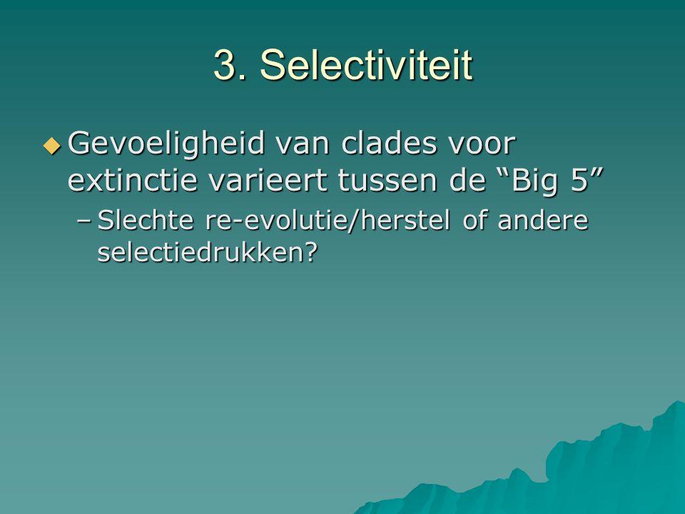 """3. Selectiviteit  Gevoeligheid van clades voor extinctie varieert tussen de """"Big 5"""" –Slechte re-evolutie/herstel of andere selectiedrukken?"""