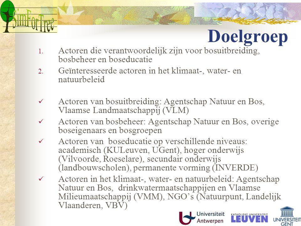 Doelgroep 1. Actoren die verantwoordelijk zijn voor bosuitbreiding, bosbeheer en boseducatie 2.