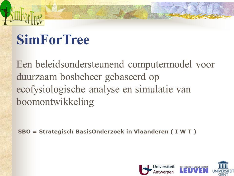 SimForTree Een beleidsondersteunend computermodel voor duurzaam bosbeheer gebaseerd op ecofysiologische analyse en simulatie van boomontwikkeling SBO = Strategisch BasisOnderzoek in Vlaanderen ( I W T )
