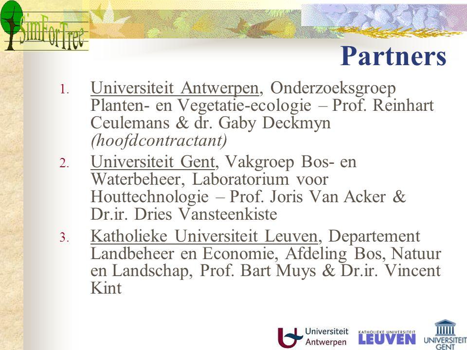 Partners 1. Universiteit Antwerpen, Onderzoeksgroep Planten- en Vegetatie-ecologie – Prof.