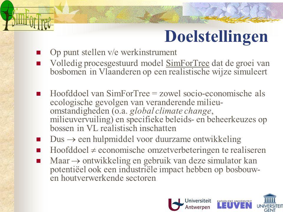 Doelstellingen Op punt stellen v/e werkinstrument Volledig procesgestuurd model SimForTree dat de groei van bosbomen in Vlaanderen op een realistische wijze simuleert Hoofddoel van SimForTree = zowel socio-economische als ecologische gevolgen van veranderende milieu- omstandigheden (o.a.