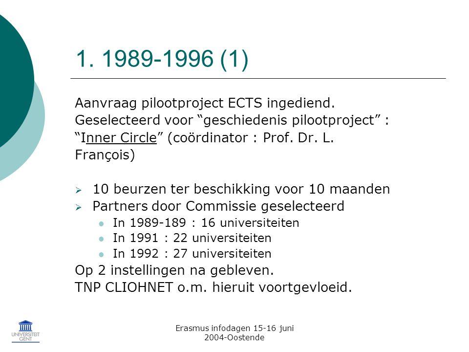 Erasmus infodagen 15-16 juni 2004-Oostende 1. 1989-1996 (1) Aanvraag pilootproject ECTS ingediend.