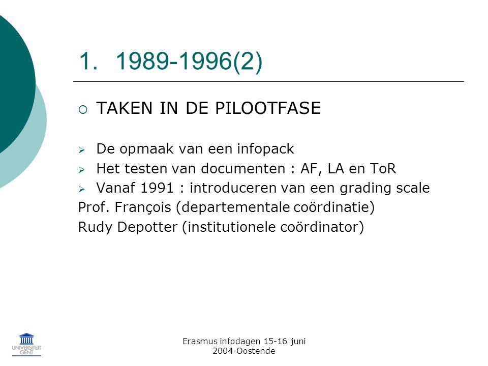 Erasmus infodagen 15-16 juni 2004-Oostende 1.1989-1996(2)  TAKEN IN DE PILOOTFASE  De opmaak van een infopack  Het testen van documenten : AF, LA en ToR  Vanaf 1991 : introduceren van een grading scale Prof.