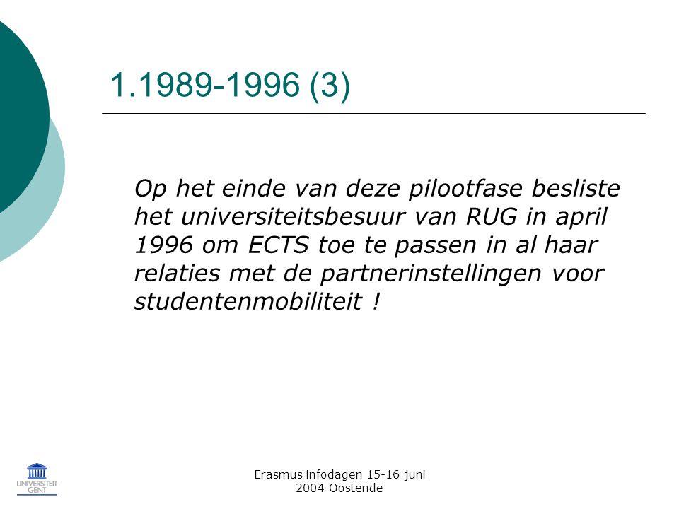 Erasmus infodagen 15-16 juni 2004-Oostende 1.1989-1996 (3) Op het einde van deze pilootfase besliste het universiteitsbesuur van RUG in april 1996 om ECTS toe te passen in al haar relaties met de partnerinstellingen voor studentenmobiliteit !