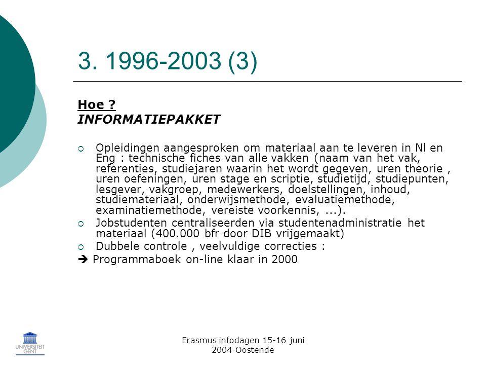 Erasmus infodagen 15-16 juni 2004-Oostende 3. 1996-2003 (3) Hoe .