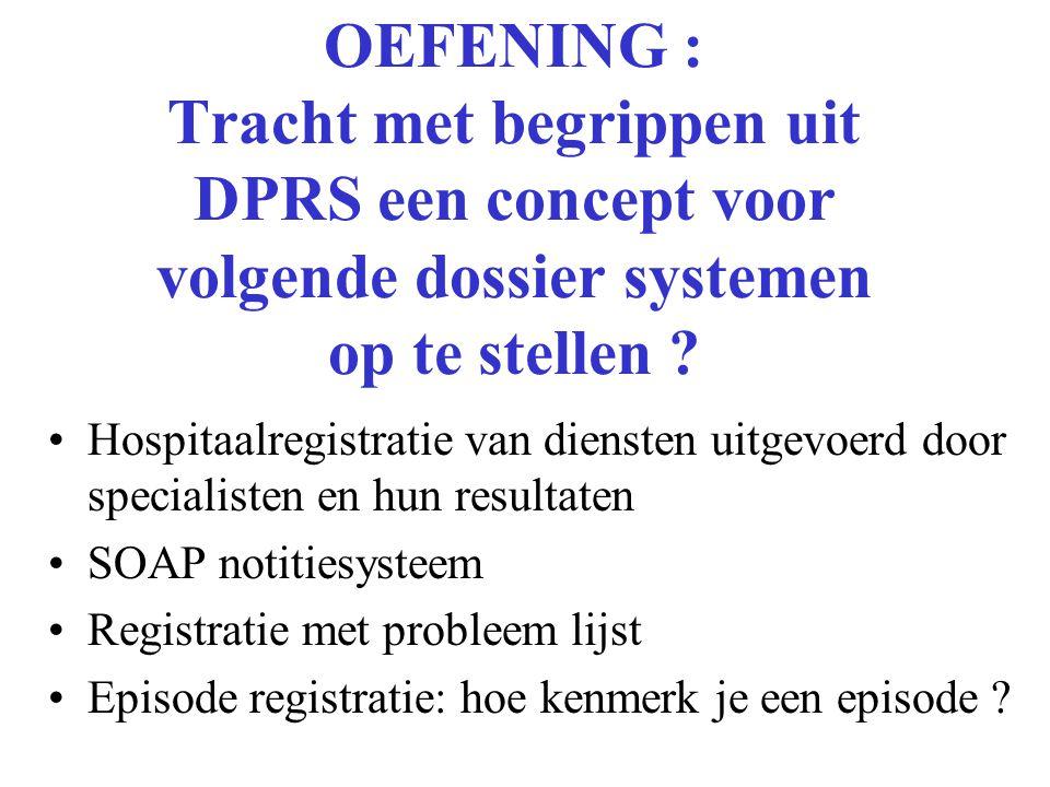 OEFENING : Tracht met begrippen uit DPRS een concept voor volgende dossier systemen op te stellen .