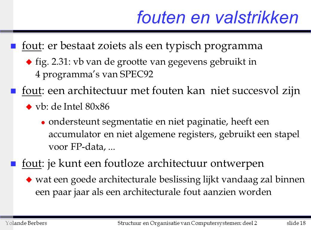 slide 18Structuur en Organisatie van Computersystemen: deel 2Yolande Berbers n fout: er bestaat zoiets als een typisch programma u fig.