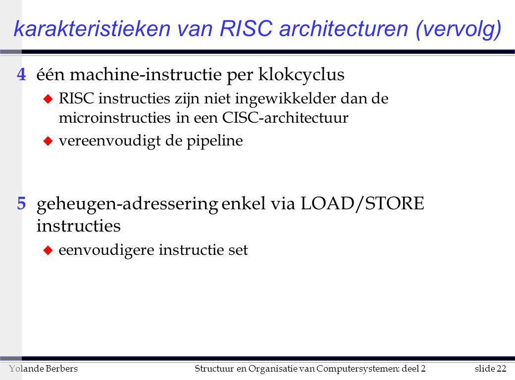 slide 22Structuur en Organisatie van Computersystemen: deel 2Yolande Berbers 4 één machine-instructie per klokcyclus u RISC instructies zijn niet ingewikkelder dan de microinstructies in een CISC-architectuur u vereenvoudigt de pipeline 5 geheugen-adressering enkel via LOAD/STORE instructies u eenvoudigere instructie set karakteristieken van RISC architecturen (vervolg)
