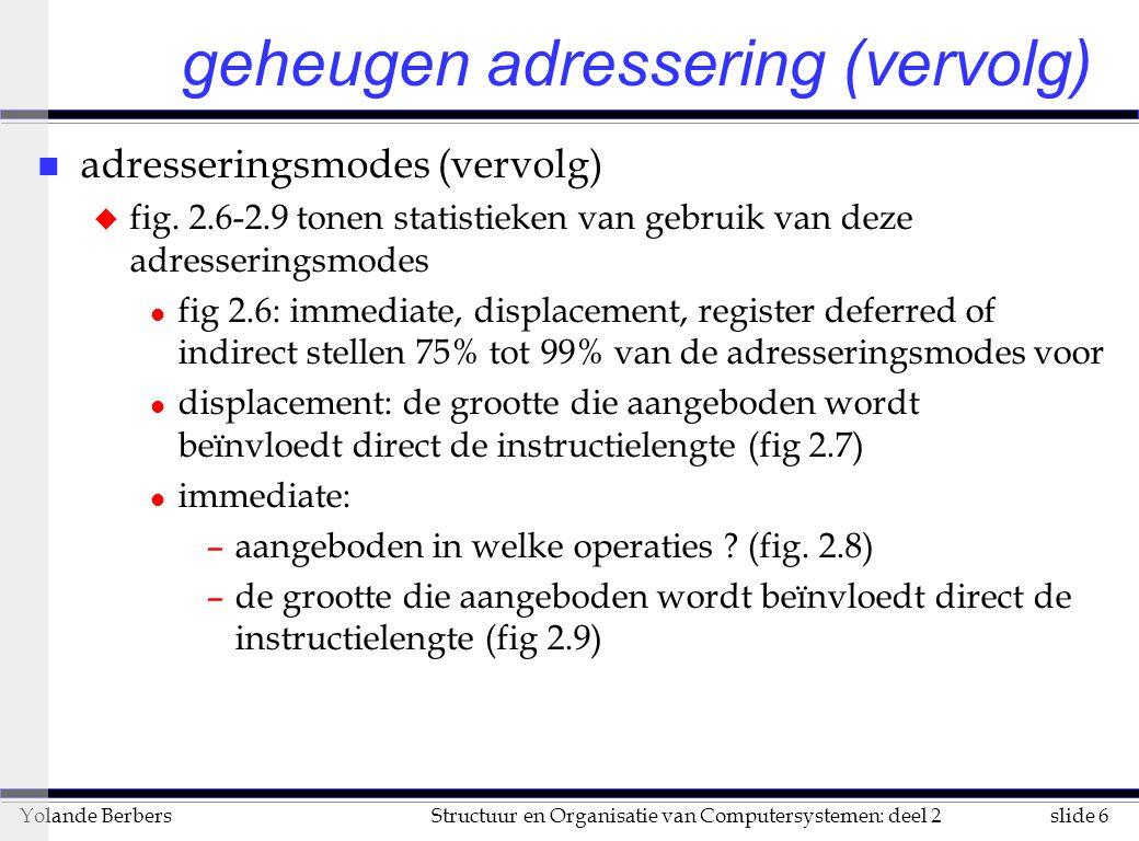 slide 6Structuur en Organisatie van Computersystemen: deel 2Yolande Berbers geheugen adressering (vervolg) n adresseringsmodes (vervolg) u fig.