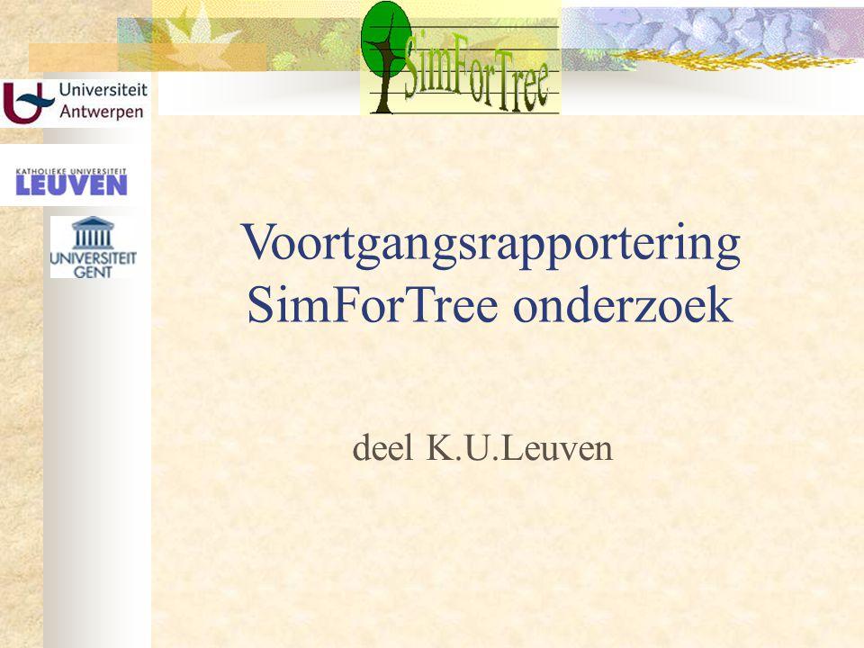Voortgangsrapportering SimForTree onderzoek deel K.U.Leuven